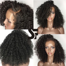 Wholesale Brown Bob Wig Curly - SF Glueless Lace Front Wig With Natural Hairlines And Baby Hair 100% Unprocessed Afro Kinky Curly Human Hair Bob Wigs For Black Women