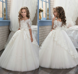 Wholesale Bateau Neckline Lace Wedding Dress - 2017 Elegant Ivory Half Sleeve Boat Neckline Holy First Communion Flower Girls Dresses Appliques Tulle Girls Pageant Dresses