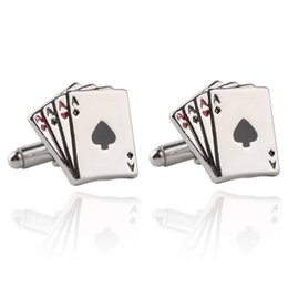 Wholesale Mens White Wedding Shirts - Poker Ace Cufflinks For Mens Shirt Jewelry Accessories Wedding Silver Color Cuff Links Buttons For Poker Enthusiasts Gift