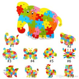 Wholesale Wholesale Christmas Educational Toys - 2017 New Kids Baby Wooden Animal Puzzle Numbers Alphabet Jigsaw Learning Educational Lnteresting Collection Toy XL-T39