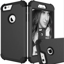 Wholesale Pc Impact - For iPhone 7 6S 6 Plus For S8 Plus Hybrid Heavy Duty Shockproof Full-Body Protective Case With Silicone PC 3 Layer Impact Protection OPP Bag
