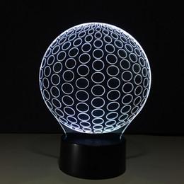 Wholesale Free 3d Golf - 3D Golf Ball Optical Illusion Lamp Night Light DC 5V USB Charging AA Battery Wholesale Dropshipping Free Shipping Retail Box