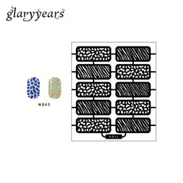 Wholesale Design Plates For Nail Art - Wholesale- 1pc Latest Stripe Image Airbrush Nail Art Manicure Paint Tool Stencils for Nail Polish Nail Template Stamping Plates Design NS03