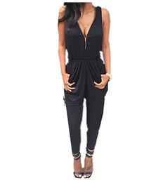 Wholesale Wholesale Fashion Strappy - Wholesale- Hot Women Fashion Celebrity Style All In One Trouser Strappy Jumpsuit V Neck Zipper Rompers Black Playsuit