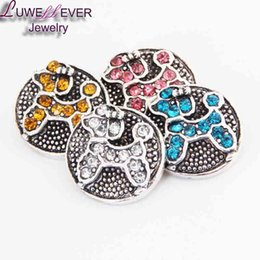 Wholesale Green Rhinestone Button - High quality 42 18mm 20mm rhinestone metal button for snap button Bracelet Necklace Jewelry For Women Silver jewelry