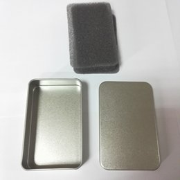 Wholesale Tin Box Cards - Tin Container Storage Box Metal rectangle for beads business card candy herbs Case 9.4x5.9x2.1cm Sliver wa3091