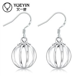 Wholesale Flower Girl Jewelry - Hollow Out Lantern Drop Earrings Silver plated special hollow out lantern shaped drop earrings for women girl gift party fashion jewelry