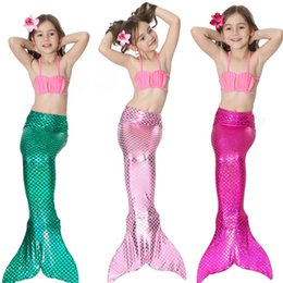 Wholesale Child Bikinis For Sale - Free shipping Factory unique design Direct Sale Mermaid Tail Swimmable Swimsuit for girls Birthday 4 Pcs 3Y-12Y Children Swimwear Bikini