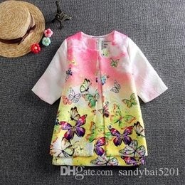 Wholesale Wholesale Girls Trench Coats - Kids Girls Sets Baby Girls Trench Coat + Dresses 2pcs Suits 2017 Autumn Infant Princess Butterfly Print Outfits Children Clothes Wholesale