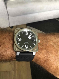 Wholesale Mechanical Military Watches - 46MM Square Automatic Mechanical Watch AVIATION TYPE MILITARY BR01-92 BR01 BR 01-92 men's watches stainless steel wristwatch rubber strap