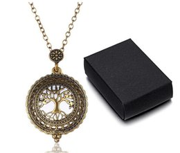 Wholesale Wholesale Watches Tins - 5 times Vintage Magnifying Glass Pendant Necklace Tree of Life Pocket Watch Time Collar Collier Necklaces Chirstmas Gift A030