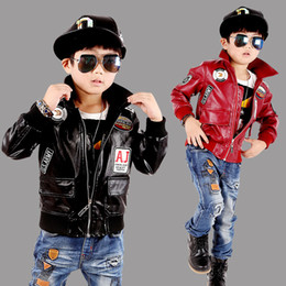 Wholesale Leather Hip Hop Winter Jackets - Teenage Boys Bomber Hip-hop PU Leather Jacket 2017 Brand New Year Kids Leather Jacket Big Boys Outerwear Children Casual Clothing