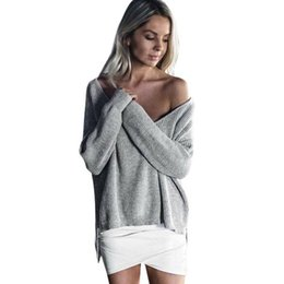 Wholesale plus size off shoulder sweater - Wholesale- 2017 New Women Autumn Winter Long Sleeve Knitted Sweaters Sexy Off Shoulder Solid Jumper Pullover Top Bottoming Blouse Plus Size