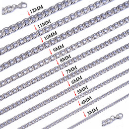 "Wholesale Stainless Steel Curb Chains - Width 3mm 4mm 5mm 6mm 7mm 8mm 9mm 10mm 11mm 12mm 316L Stainless Steel Mens NK Cool Curb Link Chain Necklace(18""-22"" inches)"