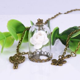 Wholesale Gold Vial Pendant - Retro Crystal Glass Vial Necklace Little Prince Rose Necklace Flowers Necklace