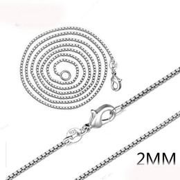 Wholesale Heart Music Box - 2mm 925 Silver Venice Chains 16-24 Inches Box Chain Link Jewelry Accessories For DIY Choker Necklace Making With Lobster Clasp