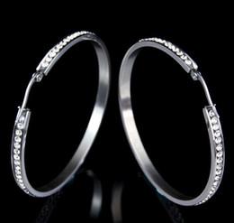 Wholesale Ears Swarovski - Hiphop 18K White Gold Plated Stainless Steel SWAROVSKI Crystal Hoop Earrings for Women Girls Ladies Earrings for Sensitive Ear No fade Color