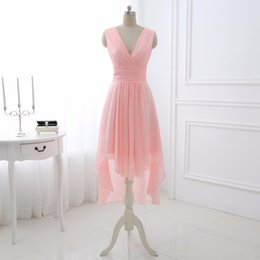 Wholesale Sexy Peplum Bridesmaid Dress - Wedding Dresses Cheap Sexy V-Neck Short Front Long Back Chiffon Bridesmaid Dresses With Sashes Party Maid Of Honor Dress Prom Gowns Under 50