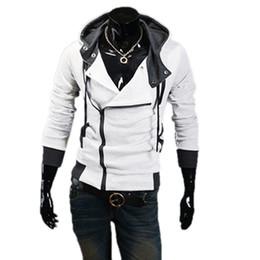 Wholesale Korean Hoodie Slim Fit - Wholesale-Mens Korean Long Sleeve Hoodies SweatshirtHot Sale ! New Assassins Creed Hoodie Slim Fit Zip Hoodie Jacket MAPP04216