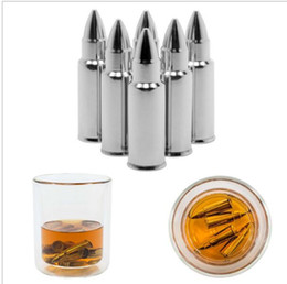 Wholesale Bullet Shaped - Bullet Shape Stainless Steel Whiskey Stones Ice Cubes Cooler Stone Wine Beer Cooling Cube Soapstone Glacier Cooler Stone 6pcs 1 lot KKA1861