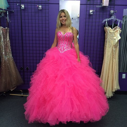 Wholesale Beaded Corset Tiered Ruffles - Custom Made Fuchsia Ball Gown Quinceanera Dresses Sweetheart Crystals Beading Ruffles Tulle Corset 2017 Plus Size Sweet 16 Party Prom Dress