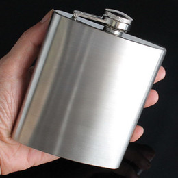 Wholesale Stainless Steel Liquor Flask - Protable 7oz Stainless Steel Liquor Flagon Retro Rum Whiskey Alcohol Pocket Hip Flask For Outdoor Camping Hiking