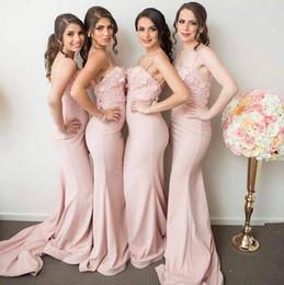 Nouvelles robes de robes d'arrivée en Ligne-New Arrival 2017 Spaghettis Straps Pink Mermaid Robes de demoiselle d'honneur 3D Floral Appliques Lace Maid of Honor Gowns Cheap Floor Length