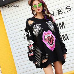 Wholesale women clothing punk - Wholesale- 2017 new Punk rock hole sweatershirt women cutout black punk feminno loose red lip shirt vampire pin clothes casual tops LT0130