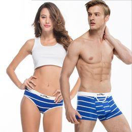 Wholesale Lingerie Lover Panties - New High Quality Cotton Couples Underwear Soft Underpants Striped Lovers Tamptation Sexy Panties Men Woman Boxers Lingerie