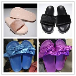 Wholesale Black Orange Bandana - Drop Shipping 2017 New Arrive Rihanna Leadcat X Fenty Bandana Slide Bow Slippers Ladies Fashion Slippers Black Red Purple Pink Size 36-40