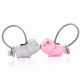 Wholesale Cute Christmas Couples Gifts - MILESI 2017 cute kiss Pig couple keychain for lover christmas gift women key holder chain keyring fashion souvenir pendant k0176