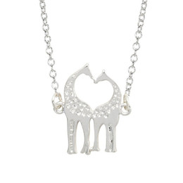 Wholesale Deer Giraffe - 2017 big animal long chain clavicle necklace Sika deer Giraffe kiss silver plated Pendant Necklace statement Jewelry wholesale free shipping