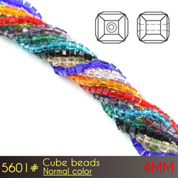 Wholesale Purple Glass Seed Beads - 4mm Glass Cube Beads Normal color A5601 100pcs set czech glass beads Seed Beads For jewelry making glass