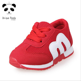 Wholesale Little Girls Red Shoes - Unique Panda Little Kids Shoes Air Mesh Toddler Baby Shoes Casual Sneakers chaussure enfant Anti-slide Girls Boys Sport Running Shoes