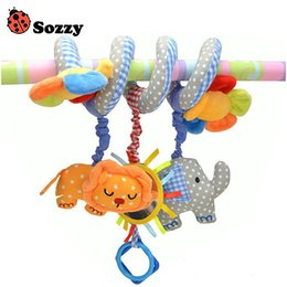 Wholesale Hanging Elephants Decoration - Wholesale- Sozzy Baby Toy Crib Car Bed Stroller Plush Spiral Hanging Decoration Toy Animal Elephant Lion Ring Bell Baby Rattle