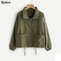 Wholesale Zip Brief - Wholesale- ROMWE Drawstring Zip Up Jacket Women Green Long Sleeve Lapel Casual Autumn Coat 2017 Fashion New Spring Pockets Brief Jacket