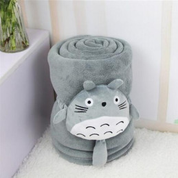 Wholesale Totoro Plush Sofa - 150*100cm Classical cartoon totoro blanket coral fleece blanket with plush totoro toy sofa blanket cover 100X150cm