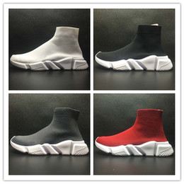 Wholesale lace up flat booties - Women's Black Sock Booties,Men and Women's Black Speed Knit Sock High-Top Sneakers,2017 Speed Trainer Sock Race Runners Black sports Shoes