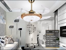 Wholesale Extension Led - Invisible pendant Fan light living room dining room bedroom extension through fan lights LED remote control fan pendant lamp