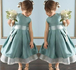 Wholesale Kids Simple Gowns - 2017 Simple Fashion New Arrival Flower Girls Dresses A-Line Sleeveless Jewel Ankle-Length Sash Pageant Kids Birthday Gowns