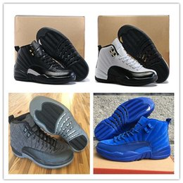 Wholesale Sneakers Wool - Basketball Shoes Retro 12 Blue Suede Wool The Master Gym Sneakers Sports Shoes Retro XII Tranining Shoes Athletic Taxi Boot Free Shipping