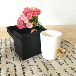 Wholesale Ring Coffee Mugs - wholesale Elegant Crystal Diamond 2 Carat Ring Ceramic Cup Coffee Mug Cup caneca drinkware gift cup 4 colors with retail box