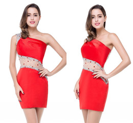 Wholesale Cheap One Sleeve Cocktail Dresses - Sparkly Crystal Red Cocktail Dresses One Cap Sleeve Cheap In Stock Short Mini Sheath Illusion See Through Back CPS207
