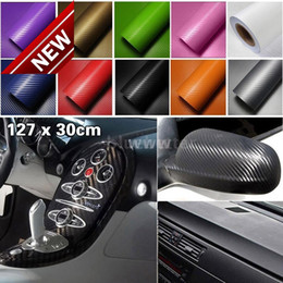 Wholesale Carbon Fiber Rolls Wholesale - Upgraded 127*30CM 3D Auto Carbon Fiber Vinyl Film Carbon Car Wrap Sheet Roll Film Paper Motorcycle Car Stickers Decal Free Shipping