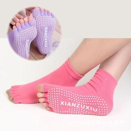 Wholesale Yoga Slip - 1Pair=2PCS Half Toe Yoga Socks Non-Slip Peep Toe Anti-Slip Pilates Ankle Grip Durable Open Half Five Fingers Cotton Yoga Socks