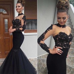 Wholesale Nude Long Cocktail Dresses - 2017 Evening Dresses Black High Neck Lace Applique Top Sheer Long Sleeves Illusion Floor Length Trumpet Mermaid Cocktail Party Prom Gowns