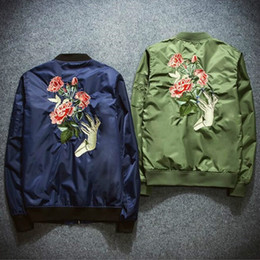 Wholesale Mens Flight Jackets - New Mens Fashion Flight Bomber Jackets Male Back Embroidery Florales Outerwear Sports Coats Army Green Navy Blue Black