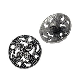 Wholesale Metal Craft Buttons - Kimter Ancient Silver Hollow Round Metal Button Buttons With Shank 23x23mm For Craft Garment Accessorie Collector Pack Of 20pcs I581L