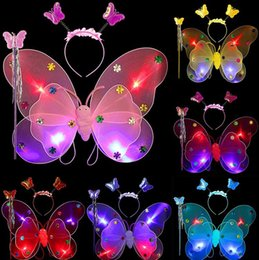 Wholesale Nylon Butterfly Wings - Led Angel Butterfly wings three-piece butterfly wings,hair hoop,magic wand Halloween children performing photography props gift