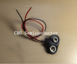 Wholesale Snap Lead Wire - Wholesale- 10pcs 9V Battery Snap Connector clip Lead Wires holder T CASE 150MM